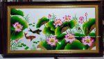 Tranh sơn mài thếp vàng bạc-Hoa Sen -SM180