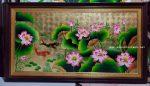 Tranh hoa sen cá chép – Sơn mài cao cấp- SM181