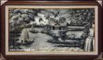Tranh đồng quê sông nước, sơn mài vẽ -SM286