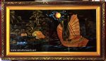 Tranh sơn mài thuyền buồm đắp nổi dát vàng -SM298