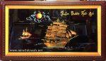 Tranh sơn mài đắp nổi dát vàng Thuận buồm xuôi gió -SM299