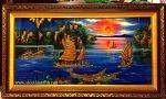 Tranh sơn mài đắp nổi Thuyền buồm trên Vịnh Hạ Long – SM300