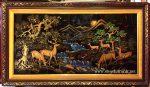 Tranh sơn mài đắp nổi dát vàng Tùng Lộc -SM302