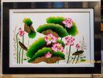 Tranh sơn mài đắp nổi- Hoa sen -SM308t