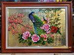 Tranh sơn mài thếp vàng bạc -Đôi chim công -SM310