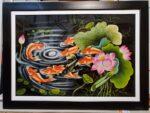 Tranh vẽ sơn mài –Cửu ngư quần tụ -SM319