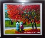 Tranh sơn dầu-mùa thu-s132