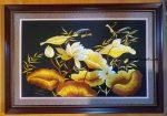 Tranh thêu,Hoa sen vàng – F175
