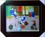 Lớp học làng quê (tranh in nghệ thuật)
