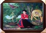 Thiếu nữ bán sen-tranh sơn dầu-s158