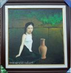 Tranh sơn dầu ,Thiếu nữ bên bình gốm -S231