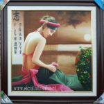 Tranh sơn dầu nghệ thuật, thiếu nữ bên thềm -S232