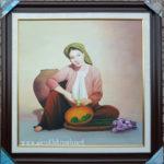 Cô gái têm trầu-tranh sơn dầu S45