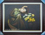 Tranh sơn dầu nghệ thuật, thiếu nữ bên bình cúc -S233