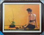 Tranh sơn dầu, thiếu nữ nghệ thuật -S234
