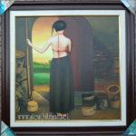 Tranh sơn dầu, nghệ thuật thiếu nữ quê -S236