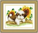 Tranh thêu chữ thâp-cún con và hoa hướng dương-yk021