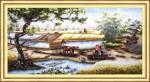 Làng quê ngày mùa-mẫu thêu-dlh222139