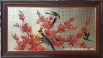 Tranh sơn mài-hoa đào chim trĩ – SM239