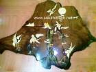 Tranh gỗ nghệ thuật tùng hạc sum vầy