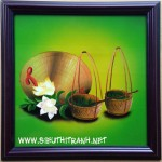 Tĩnh vật tranh sơn mài gánh hoa -sm150