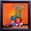 Tranh sơn mài bình hoa sen-sm151